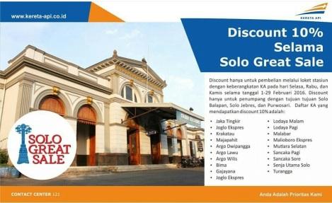 Banner diskon 10% tiket KA selama Solo Great Sale 2016