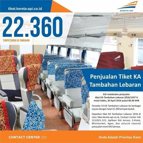 Banner penjualan tiket KA tambahan Lebaran 2016